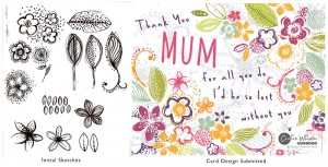 From black inky doodles in my sketch book to a finished design for a Mother's Day card - embrace the things you don't like, you never know when they might come in handy!