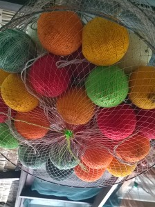 Loved these colourful string ball lights which were suspended above the dinner tables