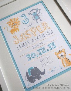 A special animal characters print created for a new born baby boy. It's already proving to be a very popular design with numerous requests for other colourways!
