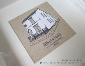 A lovely bespoke illustration for some new home owners, printed onto kraft board effect background.