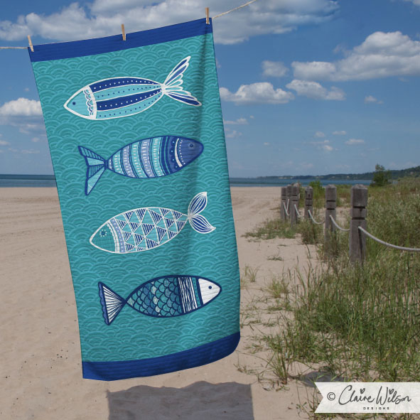CWD_Patterned Fish Beach Towel-01